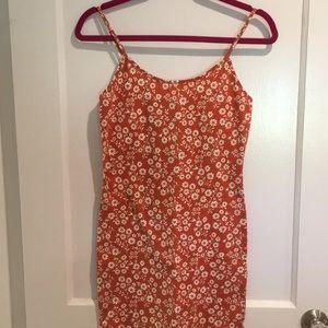 Orange and cream floral mini tank dress